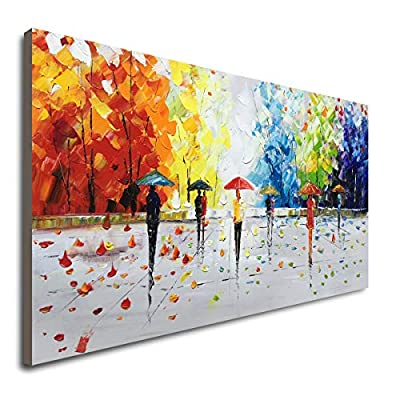 100% Hand-Painted Abstract Landscape Wall Art People Walking Modern Oil Painting by Winpeak Art