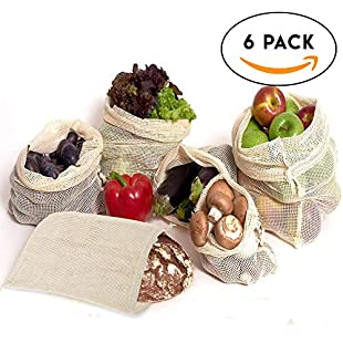 Set of 6 Reusable Mesh Bags - Assorted Sizes - linen cotton for organic grocery - zero waste shopping - heavy duty and washable - Double stitched with tare weight tag, Lightweight (Set of Small Medium, Large) - Perfect for Fresh Produce, Fruit & Vegetables - Great for Storage & Organisation:Shizuku7148