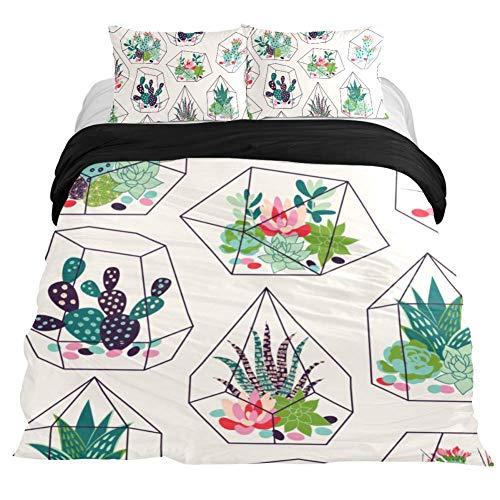 DEYYA Bedding Set Cactuses in Glass Terrariums 3 Piece Microfiber Comforter Duvet Set Quilt Cover and 2 Pillow Shams with Zipper Closure, No Comforter, Twin