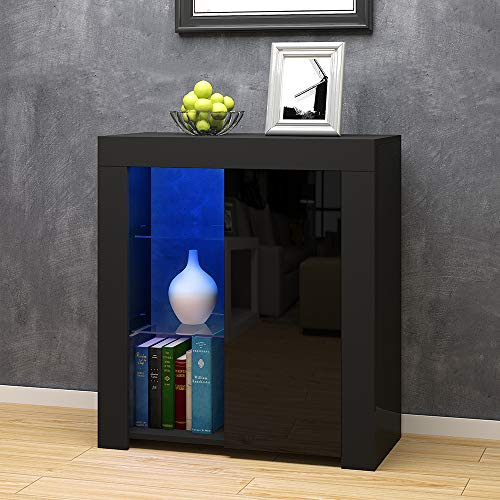 Panana High Gloss Sideboard Cupboard with LED Lights Display Cabinet Storage for Living Dining Room Bedroom Furniture (Black)