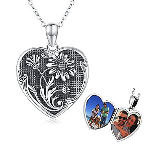 Collar con Medallón de Girasol, Colgante de Medallón con Foto de Corazón de Plata de Ley 925, Siempre en Mi Corazón Regalo de joyería con memoria para Mujeres y Niñas