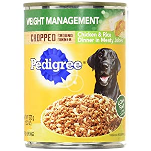 Pedigree Chopped Ground Dinner Weight Management Chicken And Rice Wet Dog Food 13.2 Oz. (12 Count)