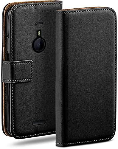 moex Klapphülle kompatibel mit Nokia Lumia 1520 Hülle klappbar, Handyhülle mit Kartenfach, 360 Grad Flip Hülle, Vegan Leder Handytasche, Schwarz