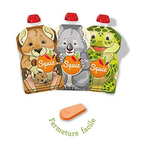 SQUIZ CLASSIC lot de 3 Gourdes Rechargeable et Reutilisables 130ml pour compotes et purees //// Parfait pour enfants FABRICATION SUISSE ados et adultes //// Sans BPA