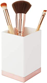 mDesign Modern Square Tumbler Cup for Bathroom Vanity Countertops - for Mouthwash/Mouth Rinse, Storing and Organizing Makeup Brushes, Eye Liners, Accessories - Slim Design - White/Rose Gold