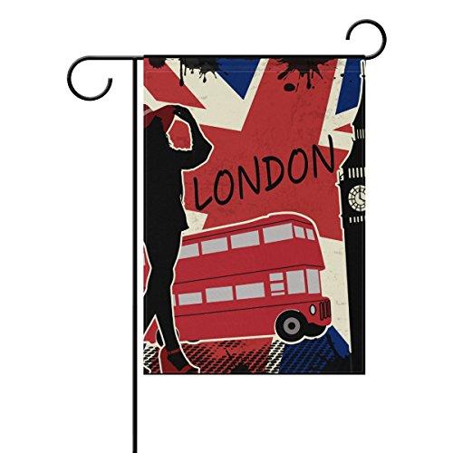 coosun London Rétro Poster Polyester Drapeau Jardin dans le jardin libre drapeau Home Party Décor, double face, 12 x 18