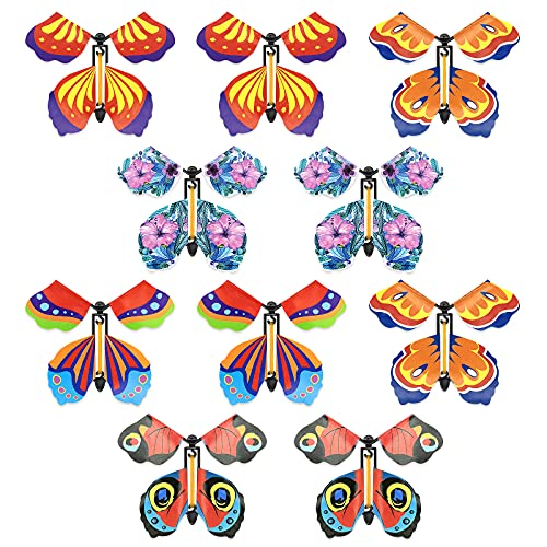 Emapoy 10 Pieces Magic Fairy Flying Butterfly Rubber Band Powered Butterfly Wind up Butterfly Toy for Surprise Gift or Birthday Anniversary Wedding Christmas Surprise Gift