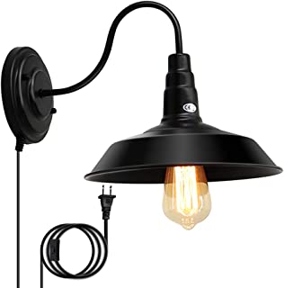 Lightess Black Wall Sconces Lighting Plug in 1-Light Gooseneck Industrial Barn Lights Vintage Farmhouse Wall Lamp, CY-8A