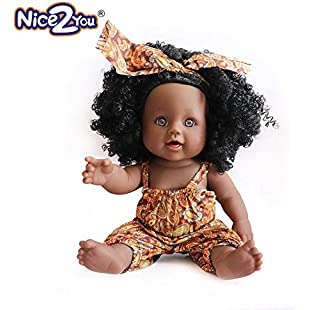 Nice2you Black Girl Dolls African American Baby Dolls Fashion 12 inch Play Doll for Kids Perfect for Birthday Gift:Lidl-pl
