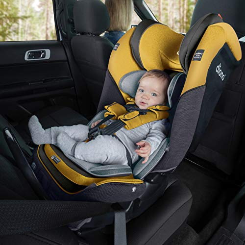Diono 2020 Radian 3QX, 4-in-1 Convertible, Safe+ Engineering, 3 Stage Infant Protection, 10 Years 1 Car Seat, Fits 3 Across, Yellow Mineral