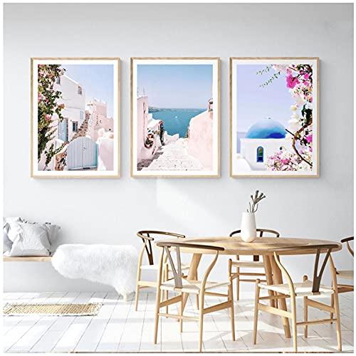Impresiones de Grecia Santorini, cartel de la costa de Amalfi, cuadro de arte de pared de Positano, pintura de lienzo de playa de verano, decoración moderna para el hogar de Mykonos sin marco