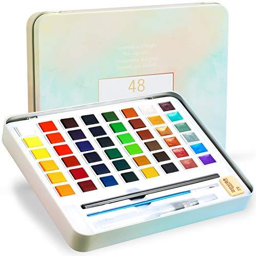 48 Color Watercolor Paint Set with 12 Metallic Color, Tomorotec Portable Watercolor Palette for Kids Children with Brushes, Refillable Water Blending Brush Pen,Sponges, Eraser, Pencils