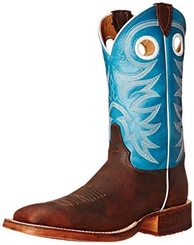 Justin Boots Herren 27,9cm Gebogen Schiene Reitstiefel, Copper Rough Rider/Candy Blue - Größe: 40,5 EU F