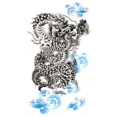 King Horse Faux imperméables tatouages temporaires sexy puissant dragon