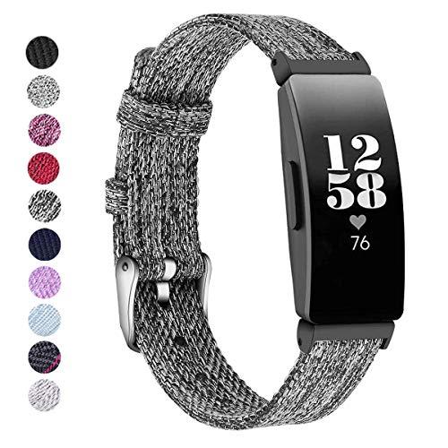 KIMILAR Armbänder Kompatibel mit Fitbit Inspire & Inspire HR Armband Stoff, Ersatzband Nylon Gewebte Band Uhrenarmband für Inspire HR Inspire Fitness Tracker -Dunkelgrau, S