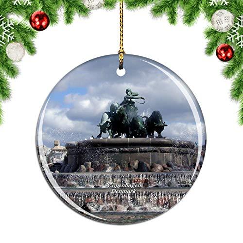 Weekino Dänemark Gefion Brunnen Kopenhagen Weihnachtsdekoration Christbaumkugel Hängender Weihnachtsbaum Anhänger Dekor City Travel Souvenir Collection Porzellan 2,85 Zoll
