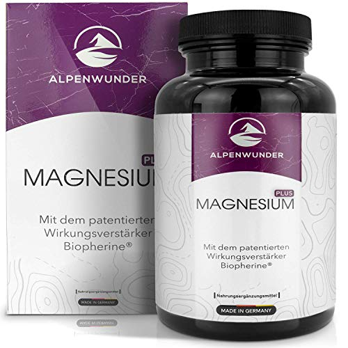 Alpenwunder Magnesium hochdosiert Kapseln, 100% MADE IN GERMANY, 365 hochwertige Magnesium Kapseln, 100% Vegan, hergestellt gemäß DIN EN ISO 9001