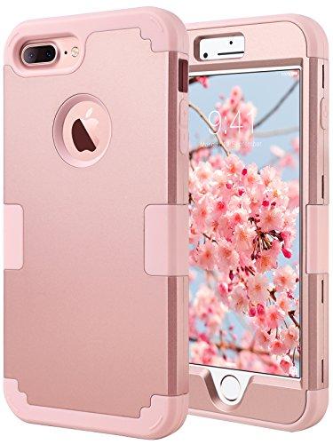 ULAK Cover Compatibile con iPhone 7 Plus,iPhone 7 Plus Custodia Apple Silicone Ibrida a Protezione Integrale Cover iPhone 7 Plus Rigida con Parte Esterna in 3 Strati Morbido Interno Rigido,Oro Rosa