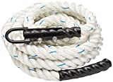 Crown Sporting Goods 1.5 Polydac Gym Climbing Rope, White - Fitness Equipment with Carabiner Eyehook for Physical Education, Strength Training, Coaching, Student Athletes, or Home Workouts (8')