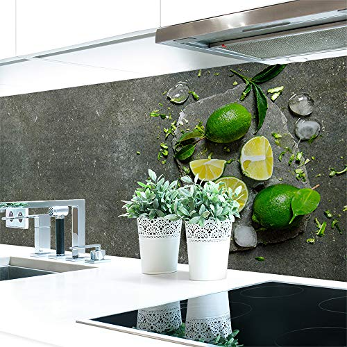Küchenrückwand Steinplatte Limonen Premium Hart-PVC 0,4 mm selbstklebend - Direkt auf die Fliesen, Größe:220 x 60 cm