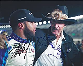 2X AUTOGRAPHED 2018 Darrell Wallace Jr. & Richard Petty #43 STP Ford Fusion Racing Team PIT ROAD COWBOY HAT Monster Energy Cup Picture 8X10 Inch Signed NASCAR Glossy Photo with COA