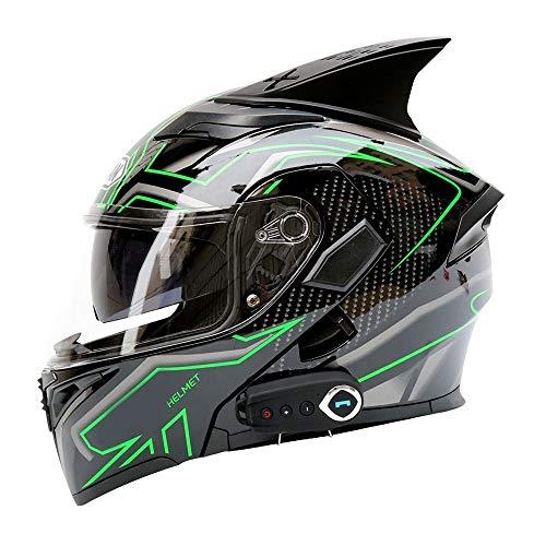 Elektro Motorrad Bluetooth Helm Doppelvisier Integralhelm Bluetooth Motorrad Integralhelm Integralhelm Mit FM Gurthörnern - ABS Material - Schwarz - Grüne Streifen - Groß Gute Qualität ( Size : XL )