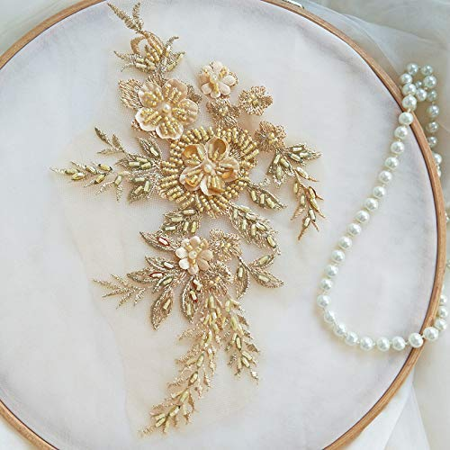 Hand Beaded Flower Sequence 3D Lace Applique Motif Sold by 3 Pairs Great for DIY Decorated Craft Sewing Costume Evening Bridal Top A6 (Gold)