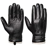 Mens Genuine Leather Gloves Winter - Acdyion Touchscreen Cashmere/Wool Lined Warm Dress Driving Gloves (Black/Cashmere, X-large)
