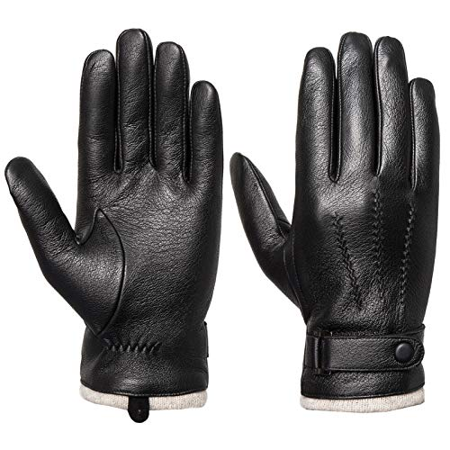 Men's Genuine Leather Gloves Winter - Acdyion Touchscreen Texting Cashmere Lined Warm Dress Driving Gloves (Black,Small)