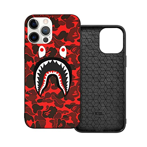 Shark Teeth iPhone 12/iPhone 12 Pro 6.1 Inch Case Fashion Trend TPU Full-Body Shockproof Protection Cover (Red Camouflage)