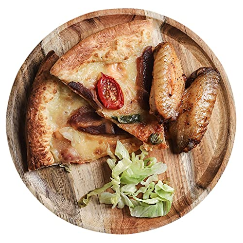 MGCtech Tablas De Pizza Redondas Platos De Comida De Varios Tamaños Bandeja De Seguridad Natural Paleta Redonda Gruesa Se Utiliza para Pan, Cortar Frutas, Verduras, Queso (Color : Natural, Size : 6')