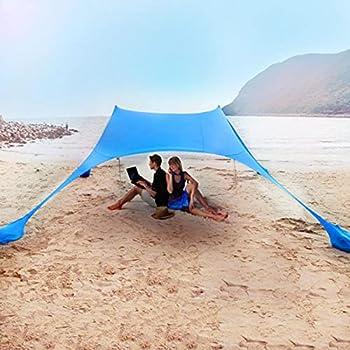 Tente de Plage auvent Pare-Soleil UPF50+, abri Solaire Anti-Vent Facile à Installer avec poteaux de stabilité/Sac de Transport/Sac de Sable, Pare-Soleil Portable pour Le Camping de Plage
