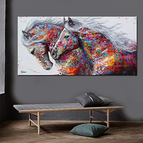 YHNM Battle of The Peak Wandkunst Leinwanddruck Tiermalerei Pferd Bild Für Wohnzimmer Wohnkultur Kein Rahmen,70x140cm
