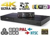 LG 4K Region Free Smart WiFi UHD 4K Ultra HD Blu-ray & DVD Player Multi Region 3D Dolby Vision HDR & 6 ft Dynastar HDMI Cable Bundle Modelo UBKM9