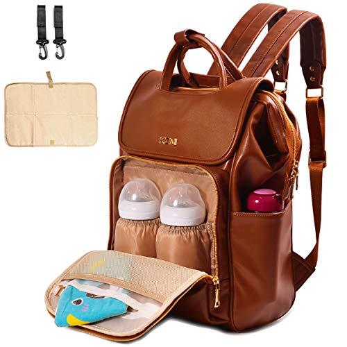 KZNI Mochila de piel para pañales, mochila de viaje, bolsa de pañales para bebé, unisex, con colgador para cochecito, bolsillos térmicos, ajustable, resistente al agua, gran capacidad (marrón)