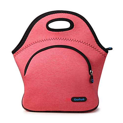 Neoprene Lunch Bag Box Insulated Lunch Tote Bags Boxes for Girls Women Nurse Kids Adults by Cosfash pink