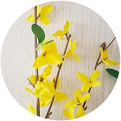 HZ09 5pcs Yellow Silk Flower Forsythia for Spring