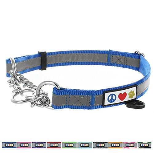 PAWTITAS Martingale Ketten-Hundehalsband Welpenhalsband Reflektierendes Hundehalsband Trainingshalsband für Hunde Ketten-Erziehungshalsband für Hunde Halsband Groß Hundehalsband Blau Hundehalsband