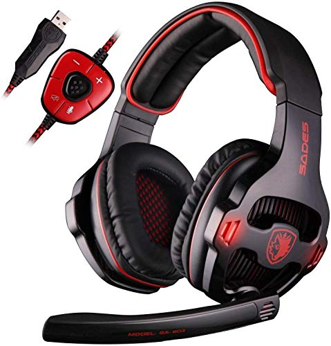 SADES USB 7.1 Stereo Surround Sound Gaming Headset with Mic LED Light, Noise Cancelling Gamer Headphones with Volume-Control for PC Mac Computer Games (Red)
