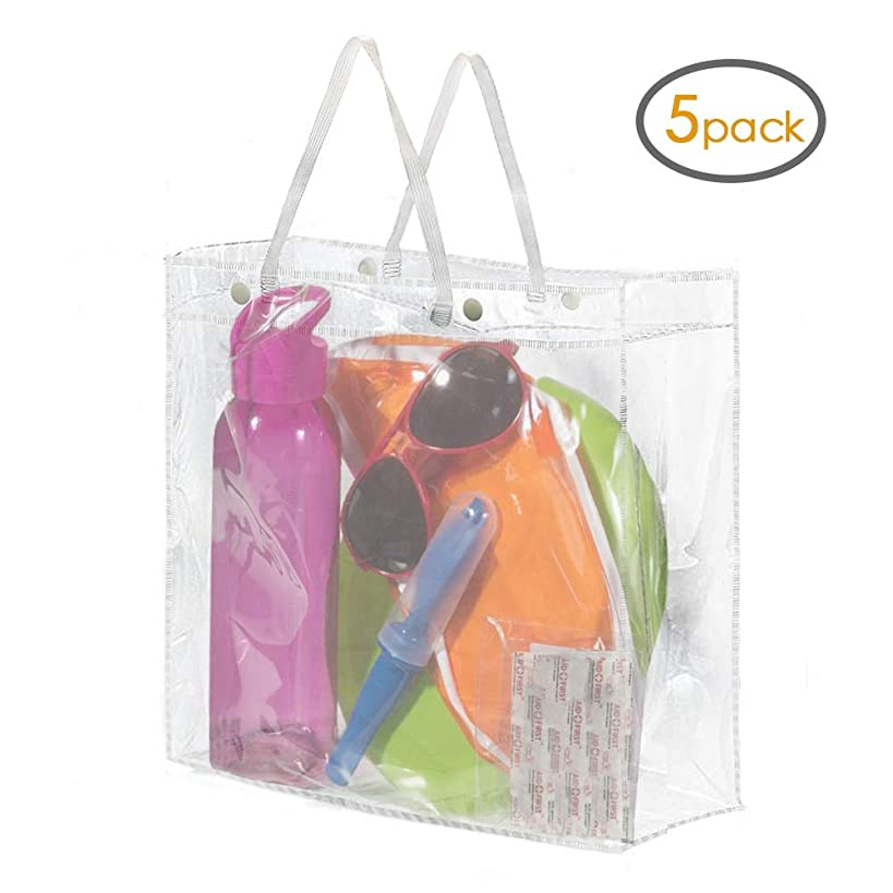 KORCCI Clear NFL, MLB, PGA Stadium Approved Tote Bag, for Sports Games, School, Beach, Travel, Office Supplies, Makeup Bag, or Toiletry Bag with Handles and Buttons 5-Pack