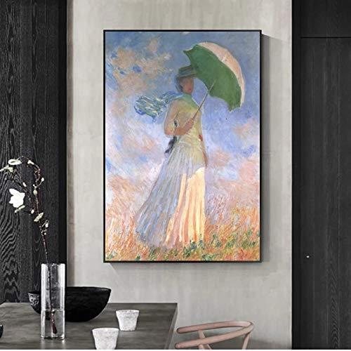 Monet 《Mujer con sombrilla》 Lienzo de arte de pared, pósteres e impresiones, pinturas en lienzo, cuadros en lienzo para la decoración del hogar de la sala de estar, 50 x 70 cm, 20 'x 28', sin marco