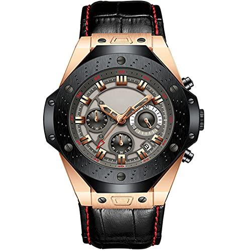 ML S HJDY Relojes De Cuarzo Reloj De Hombre De Moda De Tres Manecillas Calendario Impermeable Cinturón De Cuero Reloj Casual De Negocios Reloj Analógico De Moda para Hombre,Black Rose