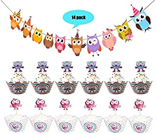 2 Sets of Owl Party Birthday Banner Theme Decoration Kit and 12 Piece Different Colorful Cupcake Toppers for Birthday Party Baby Shower Decorations Supplies
