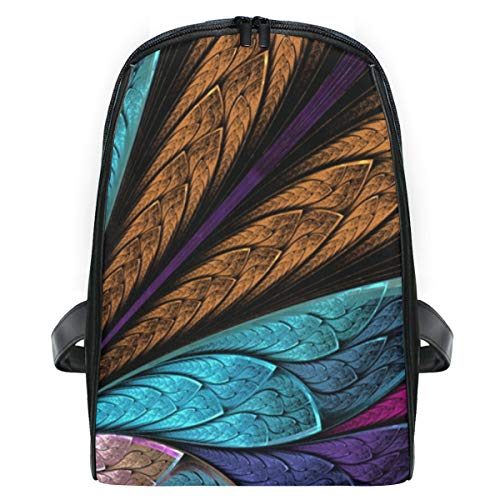 ELIENONO Vetro colorato bellissimo fiore farfalla vetrate,Viaggi Zaino Borsa a Tracolla,Zaino in Esterni Scuola Zaino Laptop Backpack per Uomo e Donna