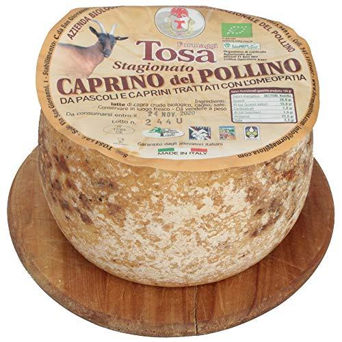 FORMAGGIO CAPRINO BIOLOGICO STAGIONATO DEL POLLINO | Contenente Latte Crudo di Capra | SENZA CONSERVANTI | MADE IN LUCANIA by Azienda TOSA | CONFENZIONE DA 1.200 KG