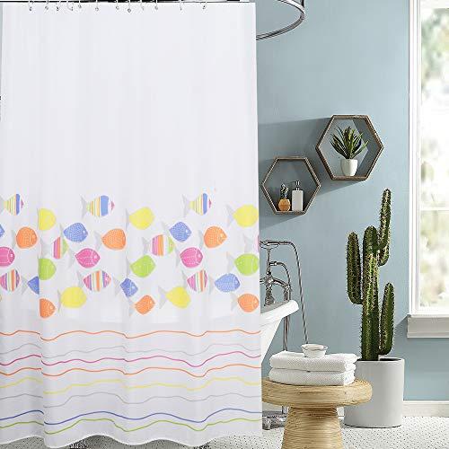 i@HOME Duschvorhang Anti-Schimmel Wasserabweisend Waschbar Anti-Bakteriell Duschvorhäng aus Polyester Badvorhang(Bunte Fische,200x200cm)