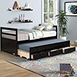 Twin Bed with Trundle and 3 Storage Drawers, Captains' Bed with Headboard and...