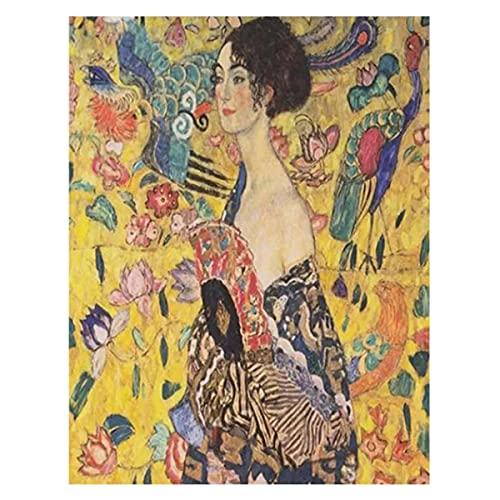 Lesign Cuadrado Completo 5d Diy Lady Con Fan Gustav Klimt Mosaic Fotos De Rhinestone Bordado Diamond Painting Hobby Crafts 12x18inch NoFramed
