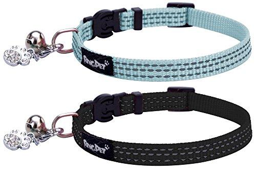 2reflektierende Katzenhalsbänder für Ausreißer, verstellbar mit Glocke und Pfotenanhänger, Sicherheitsnylon für Katzenjunges, Welpe von Bingpet