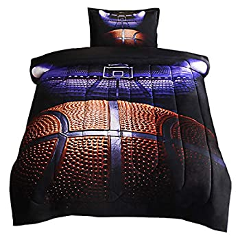 JQinHome Twin Basketball Court Comforter Sets Blanket 3D Sports Themed Bedding All-Season Reversible Quilted Duvet for Children Boy Girl Teen Kids - Includes 1 Comforter 1 Pillow Sham
